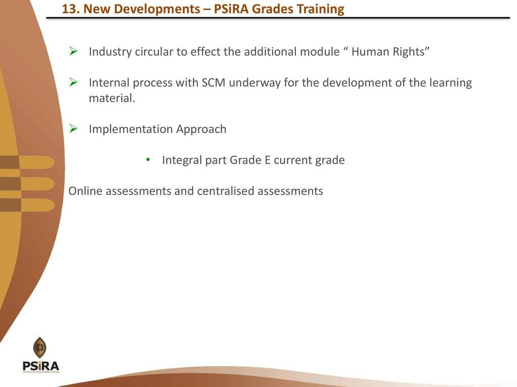 New Developments – PSiRA Grades Training