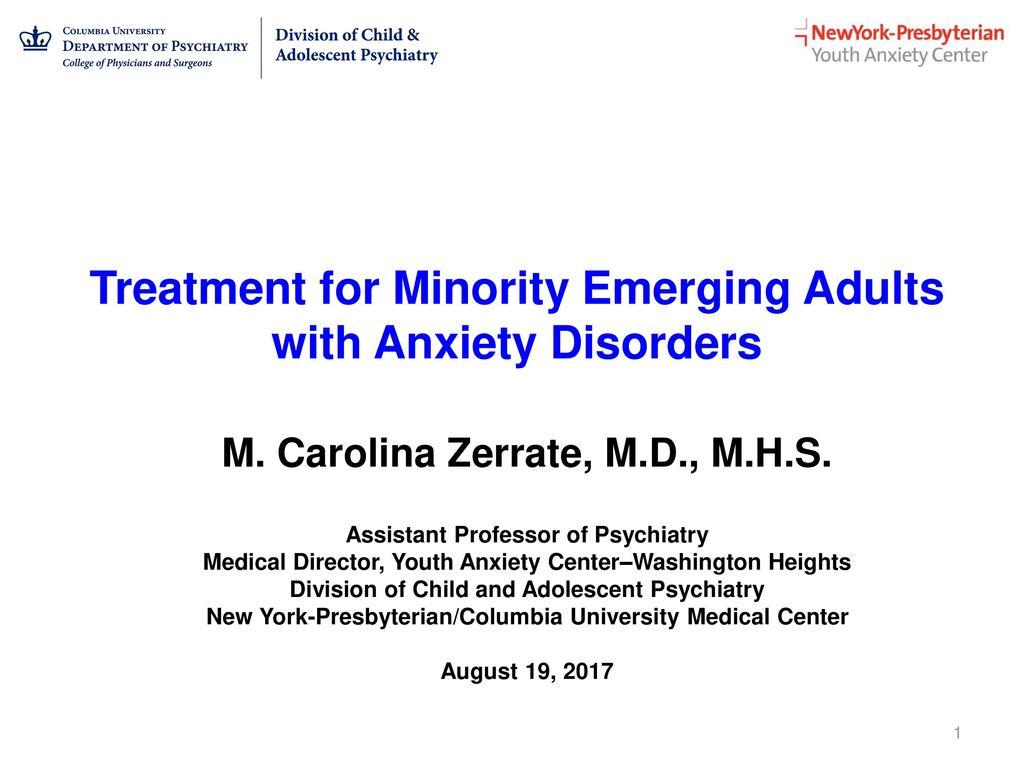 Treatment for Minority Emerging Adults with Anxiety Disorders - ppt