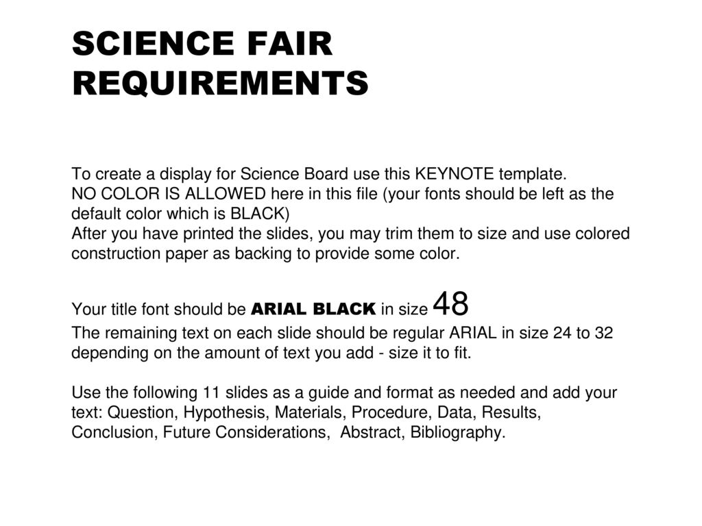 Science Fair Requirements To Create A Display For Science Board Use