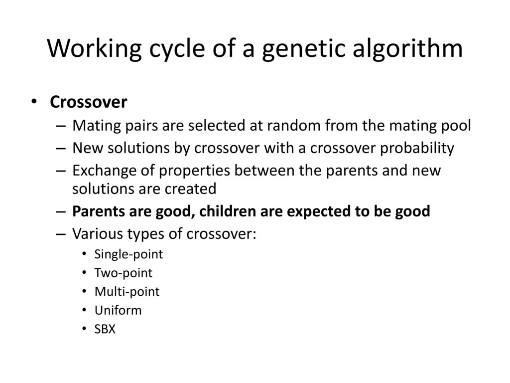 Working cycle of a genetic algorithm