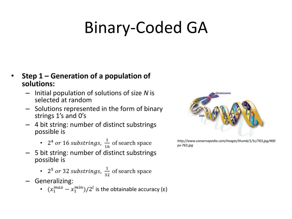 Binary-Coded GA Step 1 – Generation of a population of solutions: