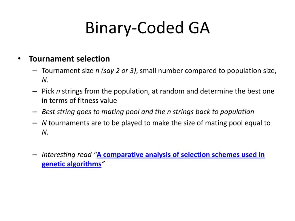 Binary-Coded GA Tournament selection