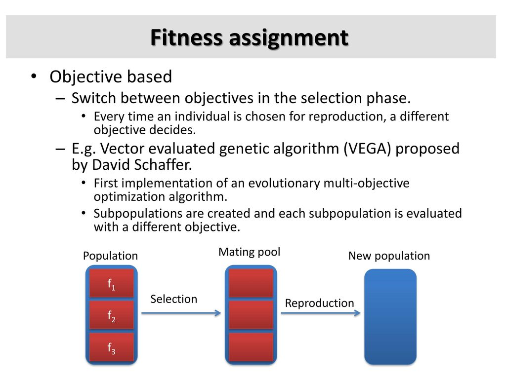 Fitness assignment Objective based