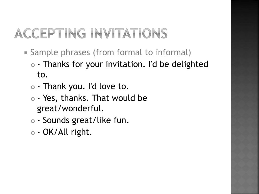 Accepting Refusing Invitation Ppt Download