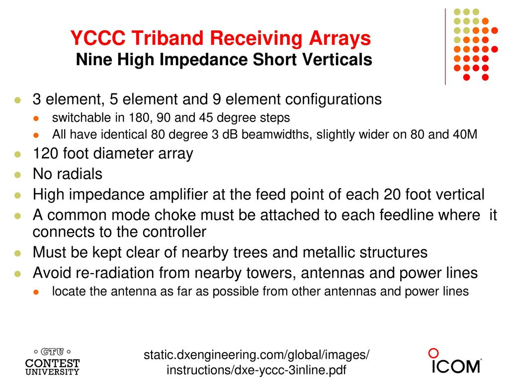 YCCC Triband Receiving Arrays Nine High Impedance Short Verticals