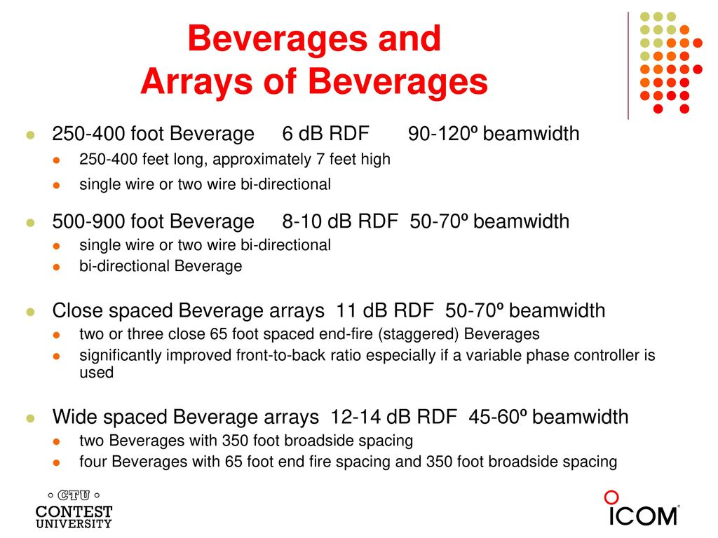 Beverages and Arrays of Beverages
