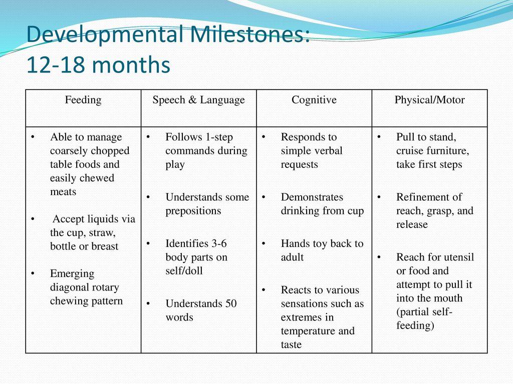 Developmental Milestones: months