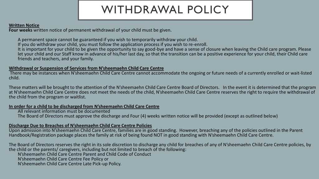 letter of withdrawal from daycare
