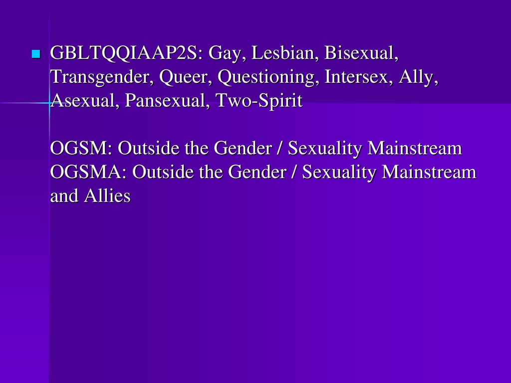 Bisexual gay intersex lesbian queer questioning transgender