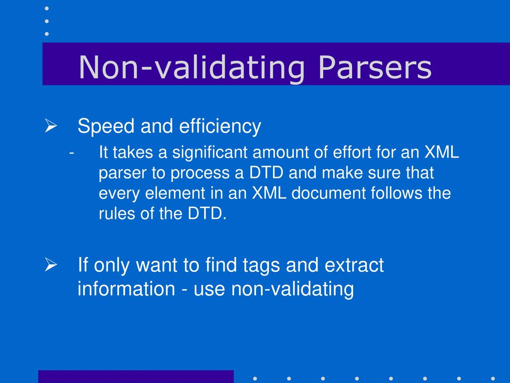 Non validating dom parser xml