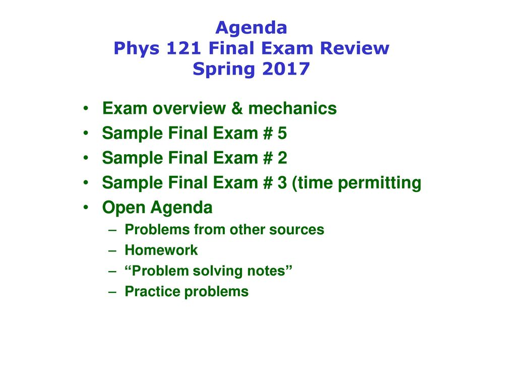 Agenda Phys 121 Final Exam Review Spring ppt download