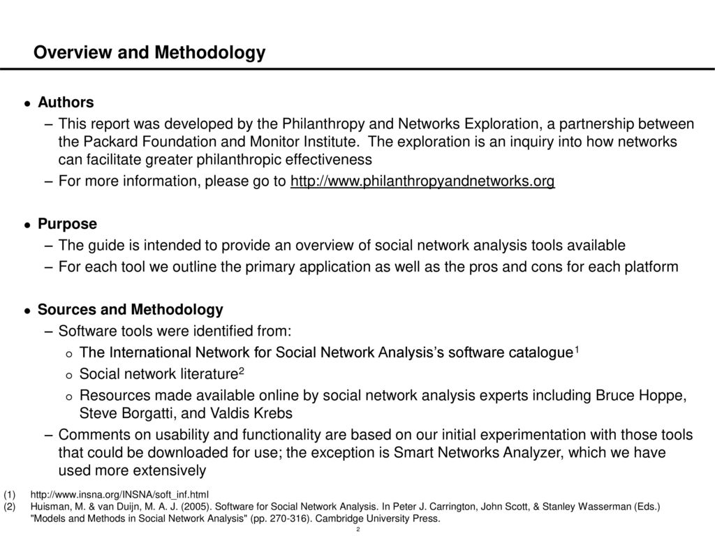 Overview of Common Social Network Analysis Software Platforms - ppt