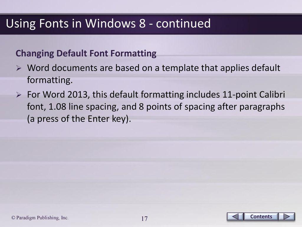 default font formatting in word 2013