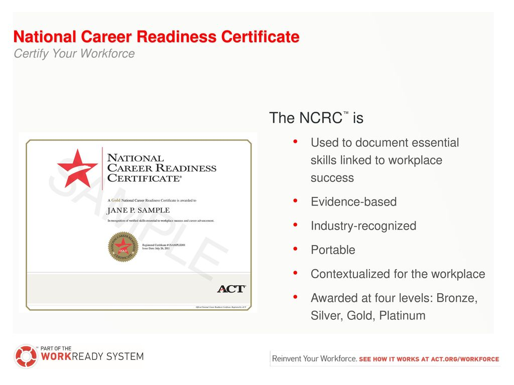 National Career Readiness Certificate Ppt Download