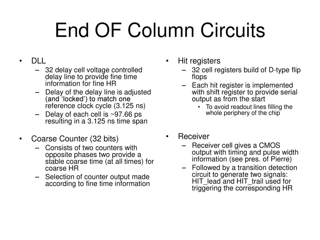 End Of Column Circuits Design Review Ppt Download Pulse Delay Circuit Dll Coarse Counter 32 Bits Hit Registers