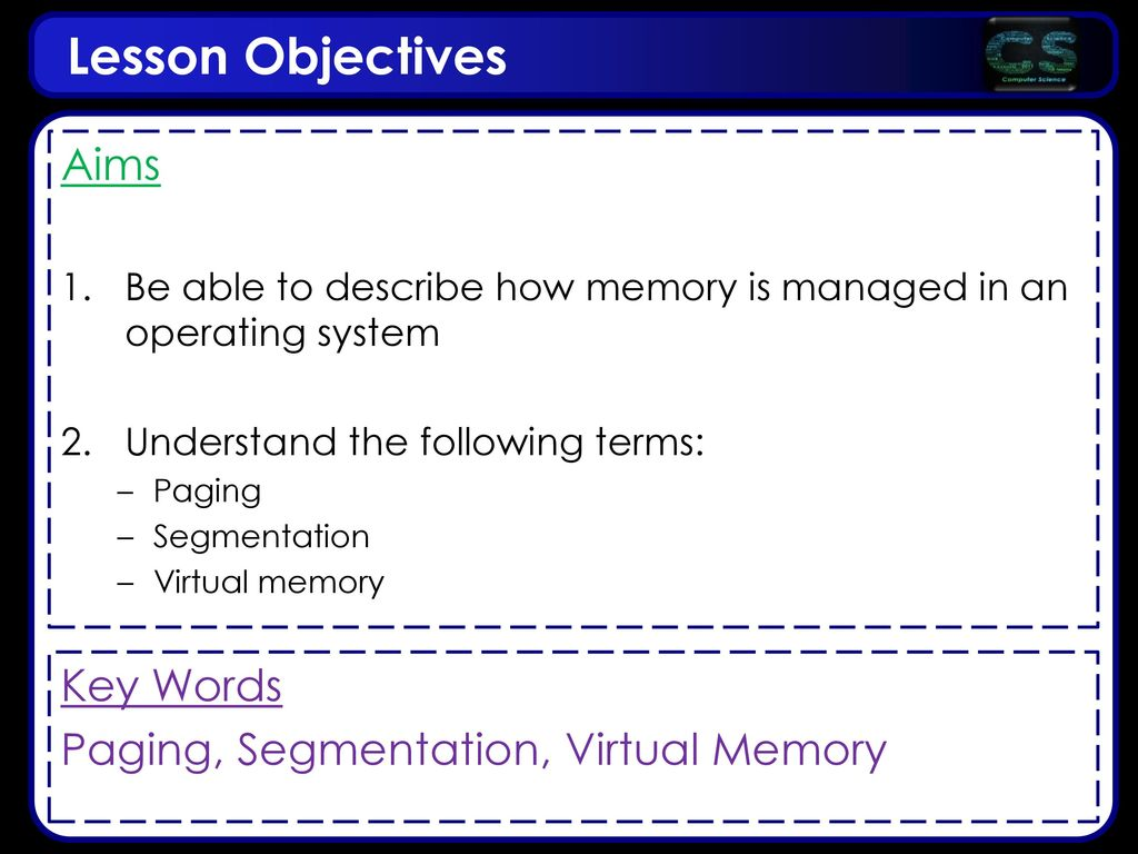 Lesson Objectives Aims Key Words Paging, Segmentation, Virtual Memory