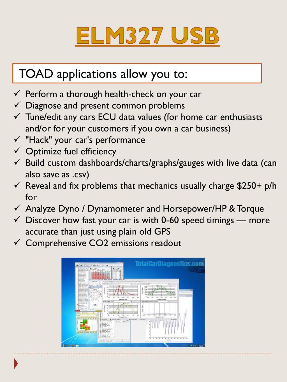 Total Car Diagnostics ELM327 USB scanner can read numerous