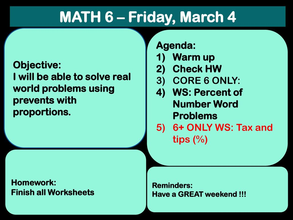 MATH 6 – Monday, February 29 Objective: Agenda: - ppt download