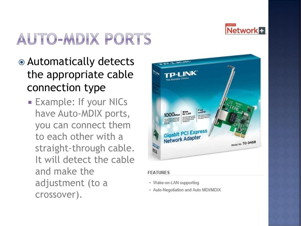 Ethernet Chapter Days Including Test Ppt Download Straight Through Network Cable Wiring You Can Connect Them To Each Other With A It Will Detect The And Make Adjustment Crossover