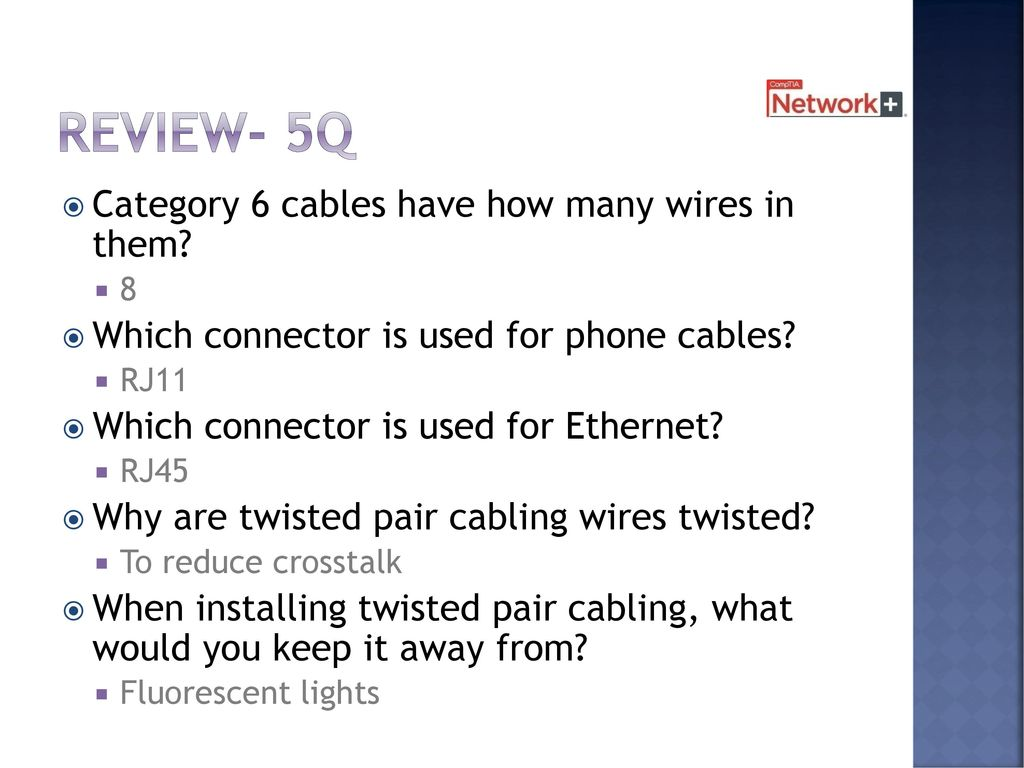 Cables And Connectors Chapter 2 8 Days Including Test Ppt Download Reverse Network Wall Jack Wiring Review 5q Category 6 Have How Many Wires In Them