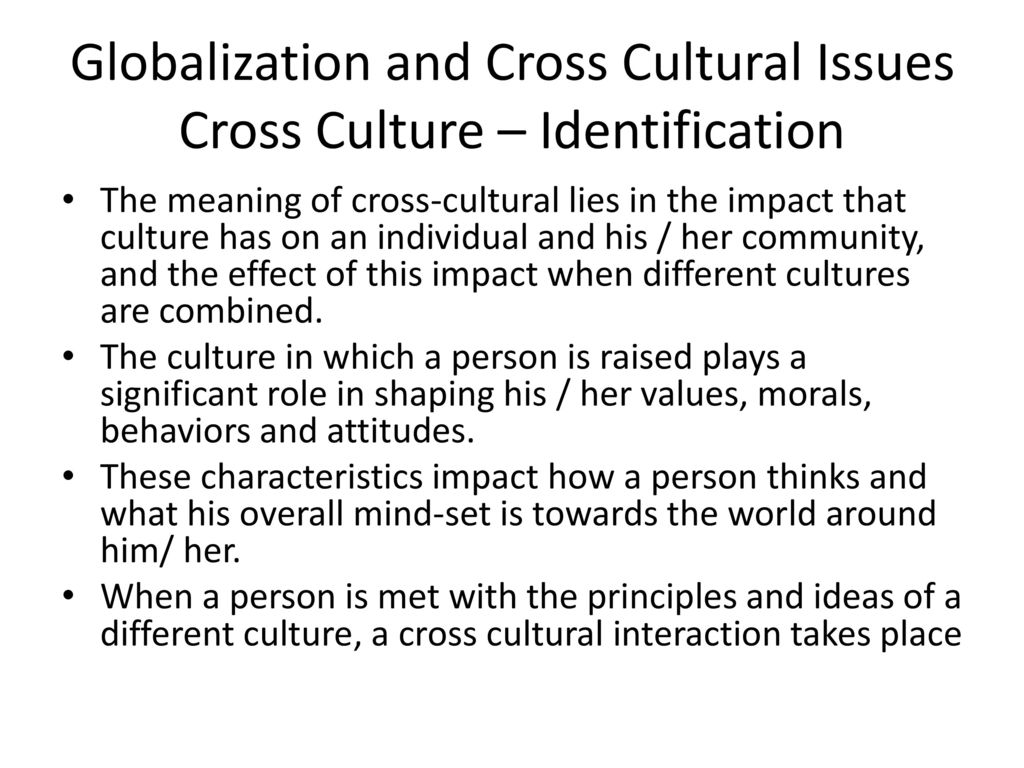 globalization and cross cultural issues