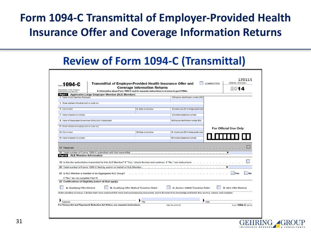 Review of Form 1094-C (Transmittal)
