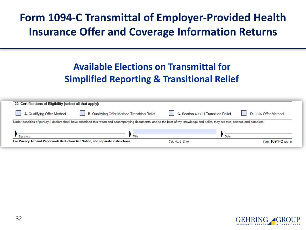 Form 1094-C Transmittal of Employer-Provided Health Insurance Offer and  Coverage Information Returns