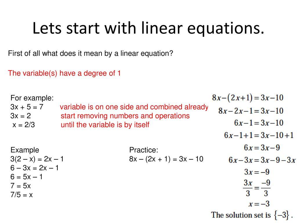 solving algebraic equations - ppt download