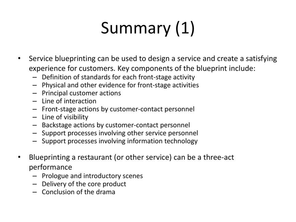 27 Summary (1) Service Blueprinting ...