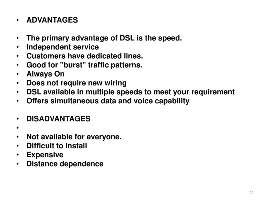 Internet Architecture Protocol Ppt Download Wiring Dsl Line Advantages The Primary Advantage Of Is Speed Independent Service Customers Have Dedicated