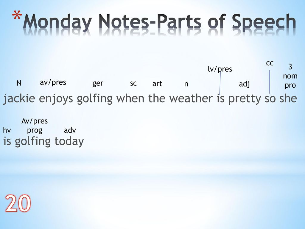 20 Monday Notes-Parts of Speech