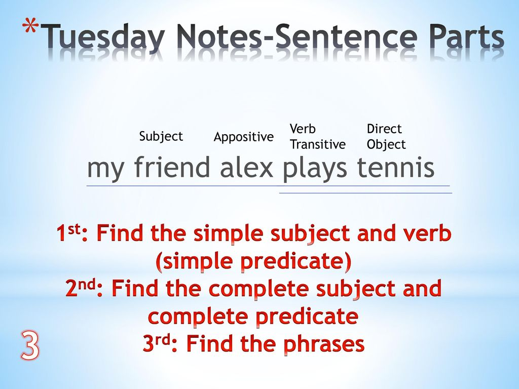 3 Tuesday Notes-Sentence Parts my friend alex plays tennis