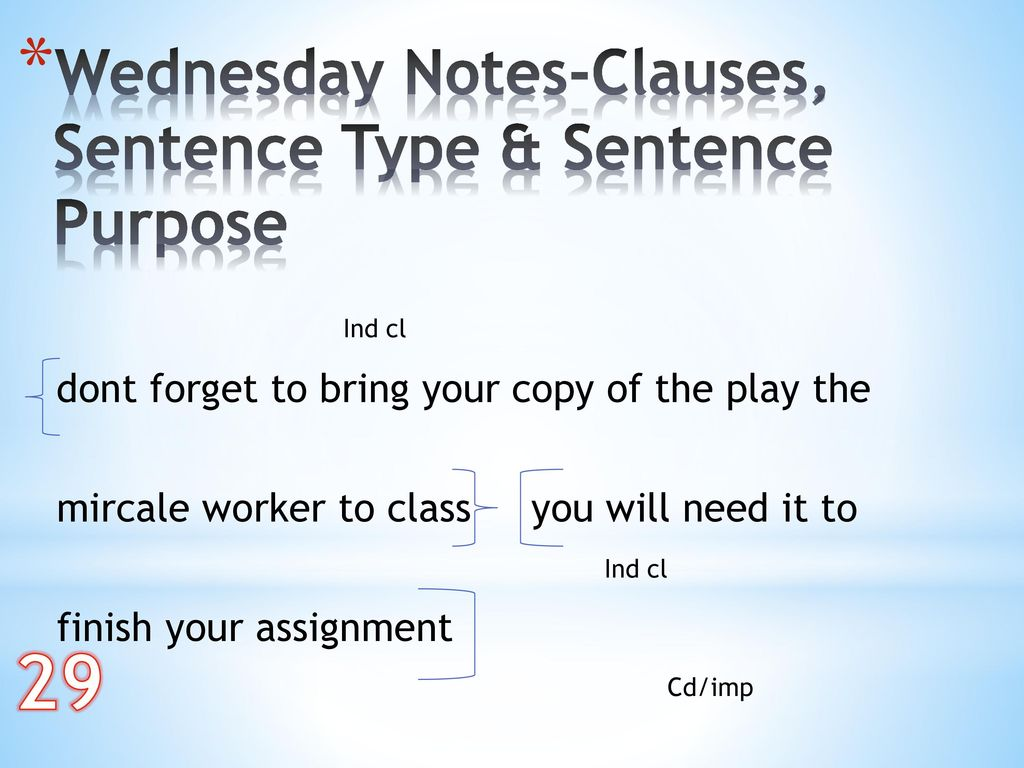 29 Wednesday Notes-Clauses, Sentence Type & Sentence Purpose