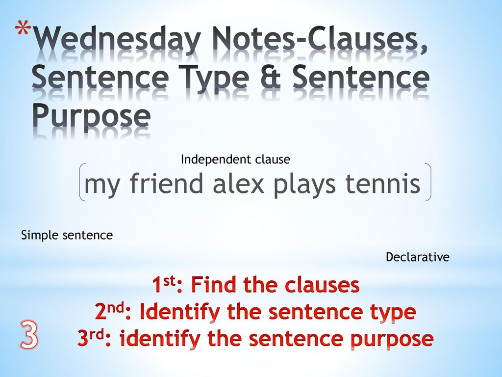 2nd: Identify the sentence type 3rd: identify the sentence purpose
