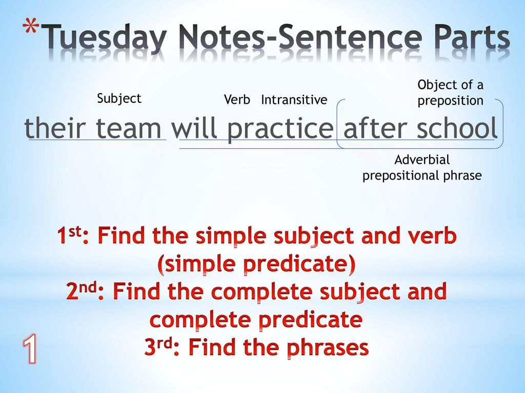 1 Tuesday Notes-Sentence Parts their team will practice after school
