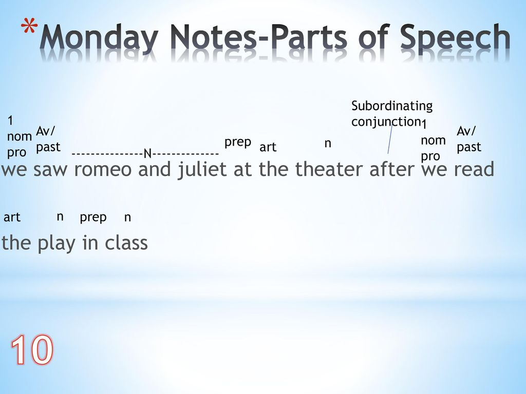10 Monday Notes-Parts of Speech