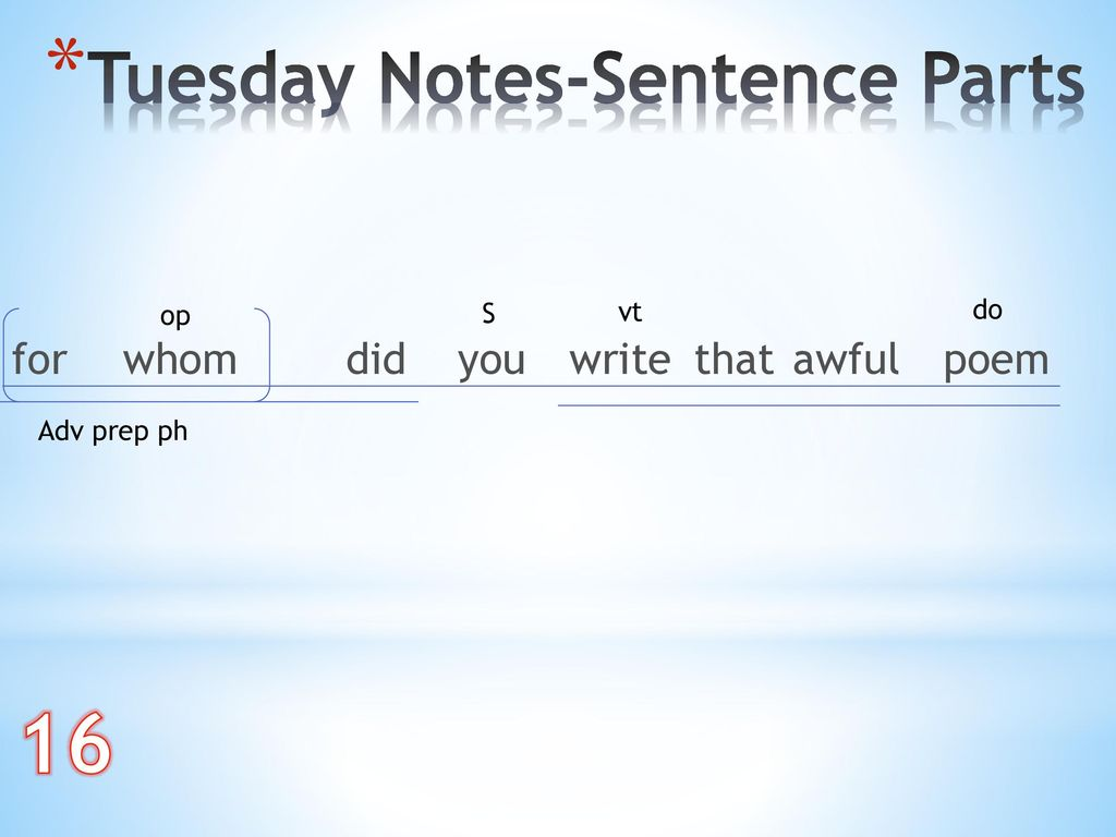 16 Tuesday Notes-Sentence Parts for whom did you write that awful poem