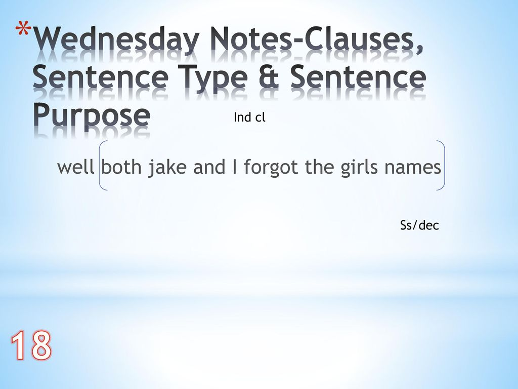 18 Wednesday Notes-Clauses, Sentence Type & Sentence Purpose