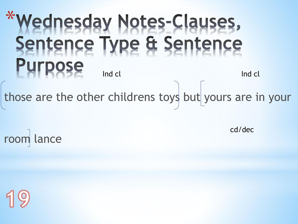 19 Wednesday Notes-Clauses, Sentence Type & Sentence Purpose