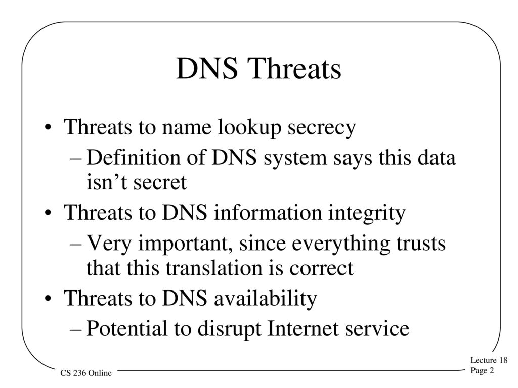 dns security the domain name service (dns) translates human-readable