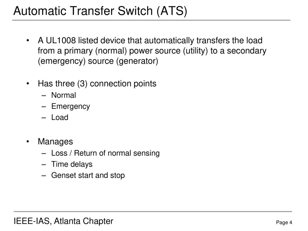 Automatic Transfer Switches Ppt Download Electrical Should A Generator Switch Have Continuity Ats