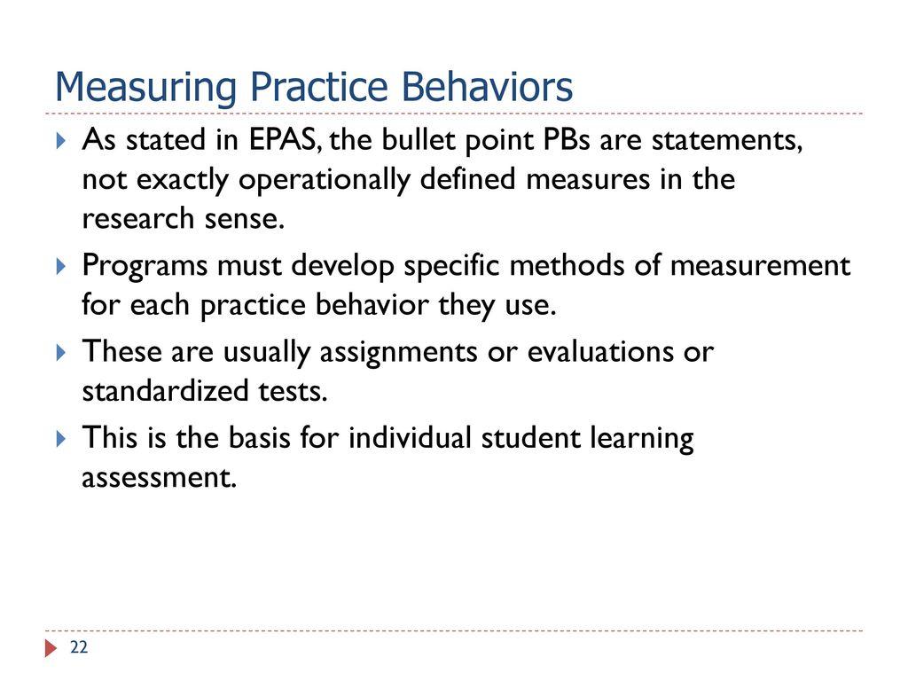 22 Measuring Practice Behaviors