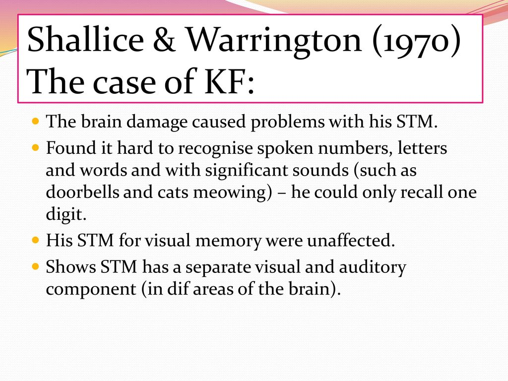 shallice and warrington 1970 kf case study