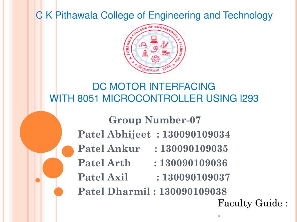 Dc Motor Interfacing With 8051 Microcontroller Presented By Ppt Gsm Modem Interface Using L293