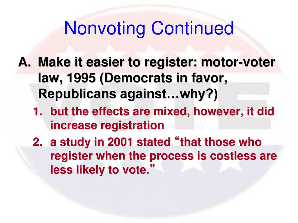 Nonvoting Continued Make it easier to register: motor-voter law, 1995 (Democrats