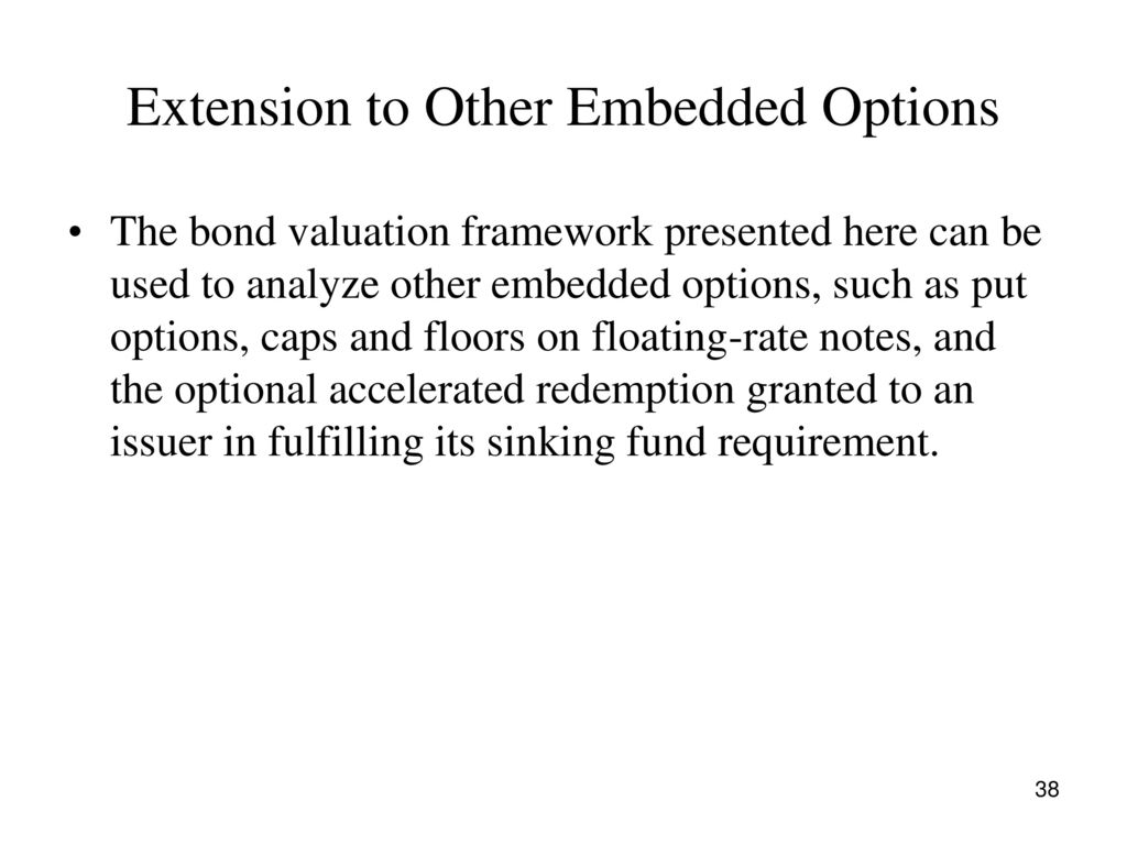 Extension To Other Embedded Options 39 Valuing A Putable Corporate Bond