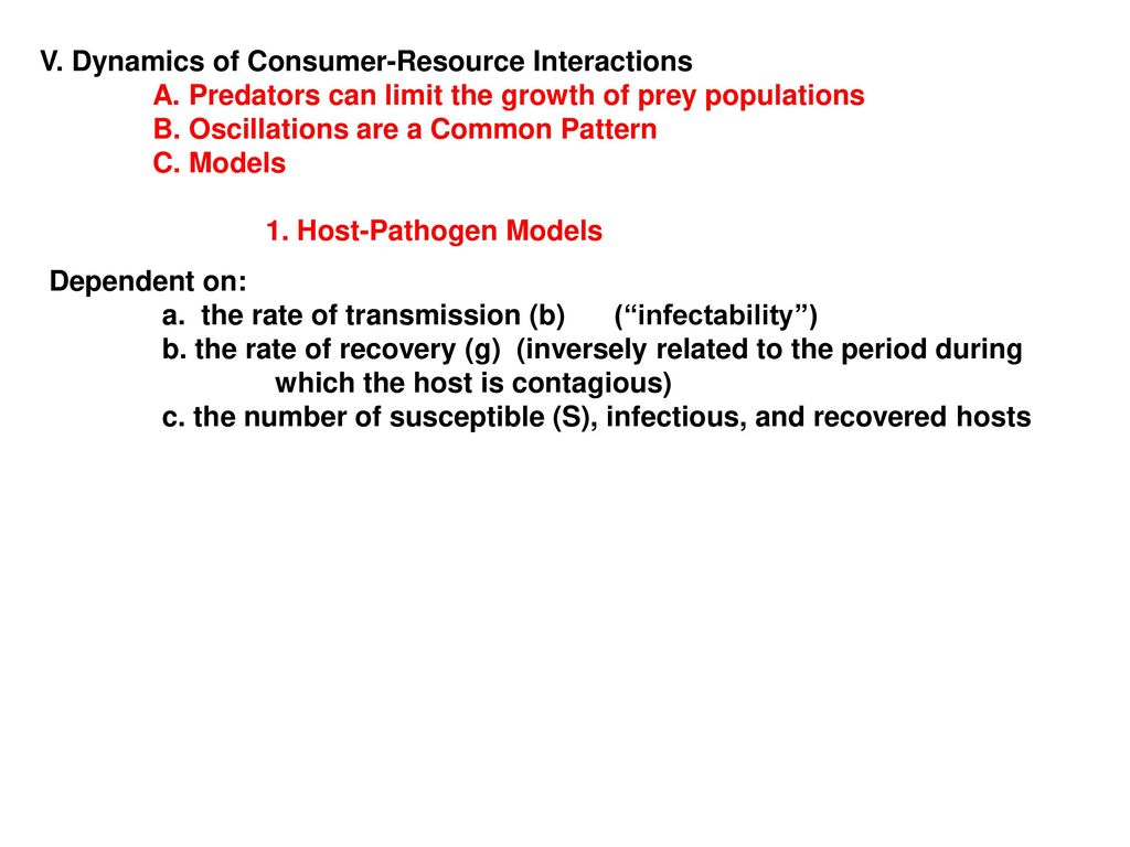 V  Dynamics of Consumer-Resource Interactions - ppt download