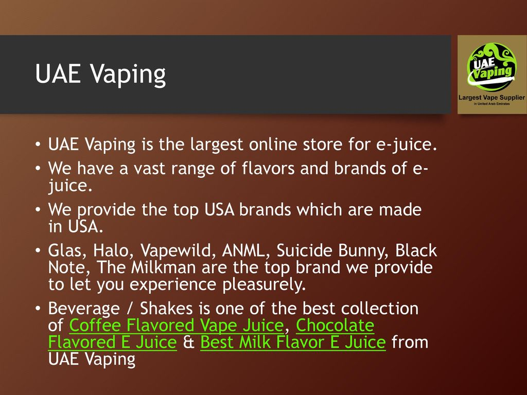 Beverage Flavored E-Juice by UAE Vaping - ppt download