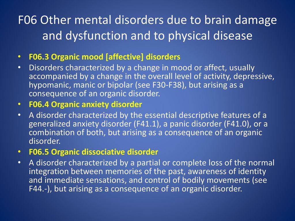 Organic brain damage. Description 69
