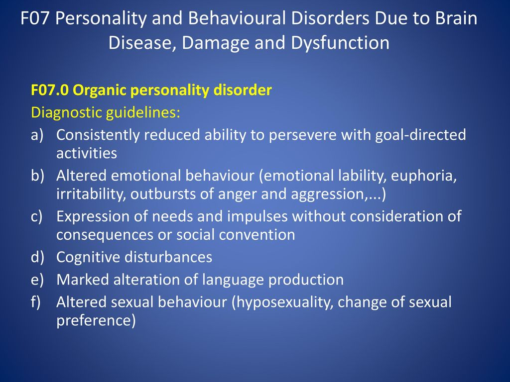 Organic brain damage. Description 37